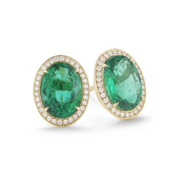 5.93-Carat-Oval-Emerald-And-Diamond-Stud-Earrings-in-Yellow-Gold-Marshall-Pierce-Company-Chicago